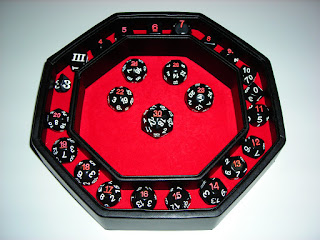 Easy Roller dice tray and many dice.