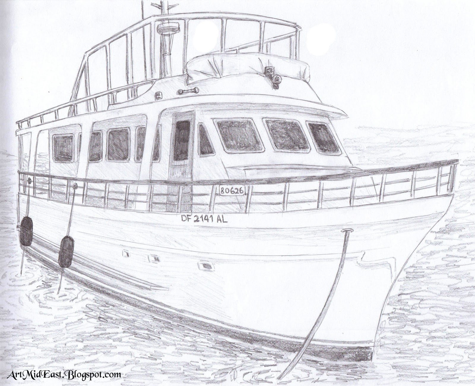 How draw boat shade pencil technique
