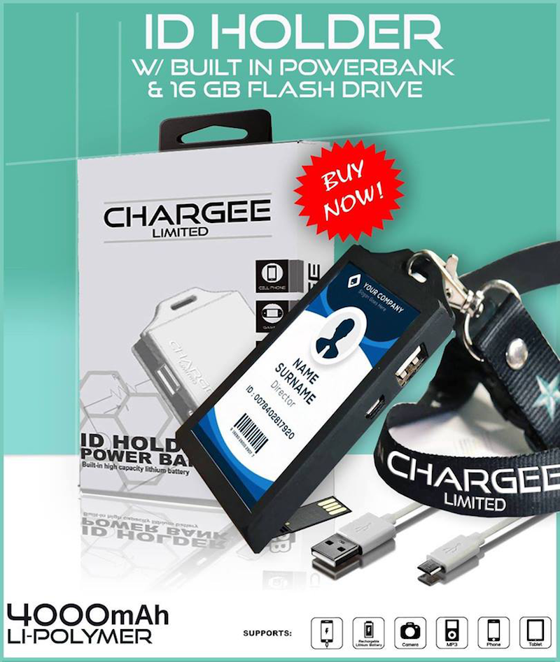 Chargee, the viral ID Holder with built-in power bank and flash drive now available at Shopee!