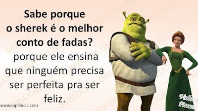 Sabe porque  o sherek é o melhor conto de fadas?  porque ele ensina que ninguém precisa  ser perfeita  pra ser feliz.