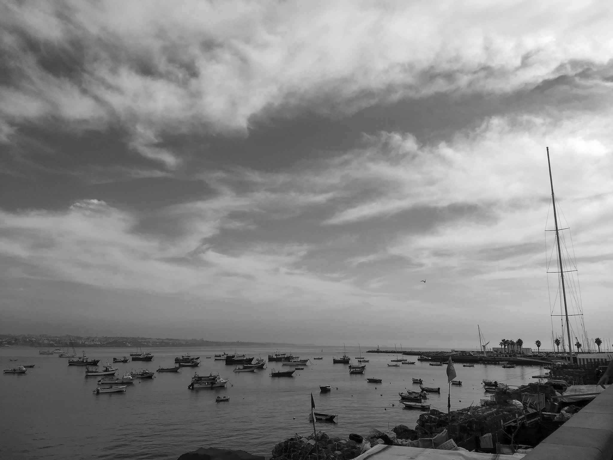 Black and white landscape of Cascais, Portugal.