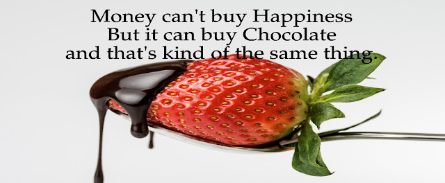 """Money can't buy Happiness but it can buy Chocolate and that's kind of the same thing."""