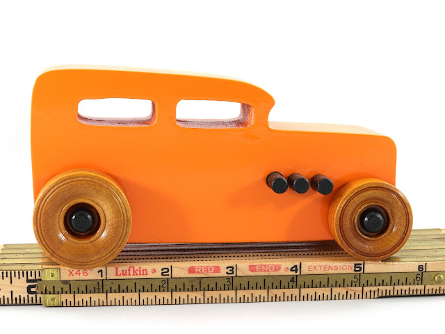Handmade Wooden Toy Car Hot Rod 1932 Ford Sedan From the Hot Rod Freaky Ford Series On Wooden Rule Orange & Black