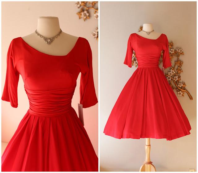828d103220b 1950 s QUEEN OF HEARTS red party dress by Jane Andre. Waist 25
