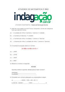 Atividade de Matemática Sistema de Numeração Decimal (5º Ano) com Gabarito