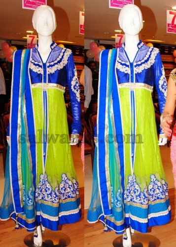 c0e7dc2b3b Lime green and blue colors combination rich work Neerus salwar kameez, It  is anarkali patterned full hands kameez with copper sulphate blue plain  border, ...
