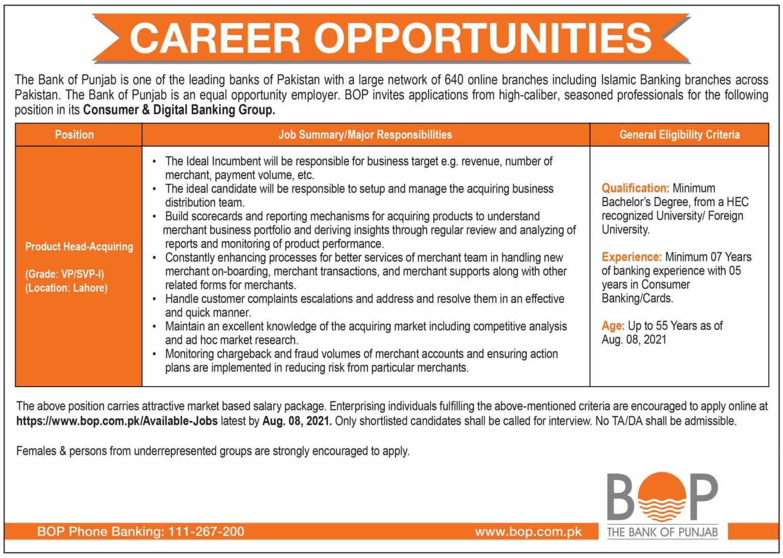 The Bank of Punjab BOP Jobs 2021 | Online Apply www.bop.com.pk