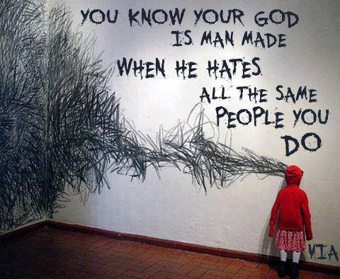 Picture of child looking a wall on which is written a bunch of scribbles and the words,