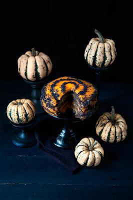 Halloween cake au sésame noir et kaki