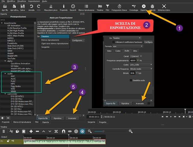 conversione e esportazione audio con shotcut
