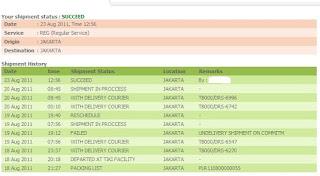 contoh tampilan status pengiriman barang tiki