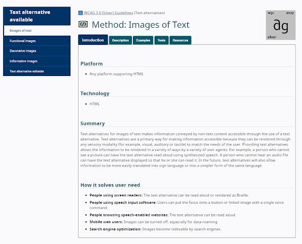 Página del método Text alternative for Images de Text. Tiene 5 pestañas: Introducción, Descripción, Ejemplos, Tests y Recursos