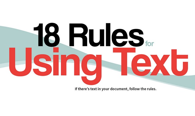 Image: 18 Rules for Using Text #infographic