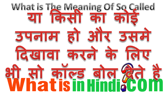 So Called meaning in Hindi