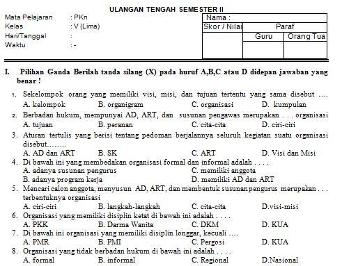 Download Contoh Soal SD/MI Kelas V Mata Pelajaran PKn Format Microsoft Word