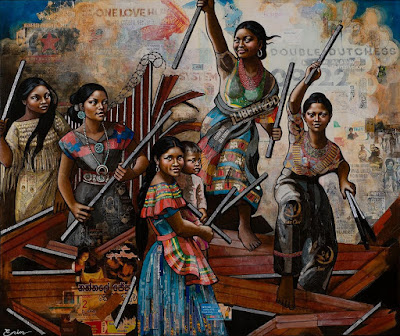 American Women (dismantling the border) III (after Delacroix), Erin Currier