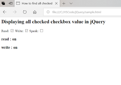 How to find all Checked checkboxes in jQuery?Example