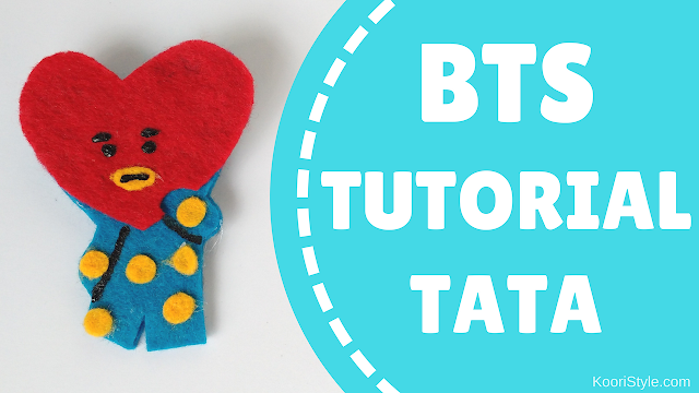 Koori Style, KooriStyle, BTS, BT21, Tata, V, Tae, TaeHyung, Pin, Brooch, Broche, Felt, DIY, Tutorial, Make, Easy, Cute, Kpop, Facil, Fieltro,  Plantilla, Printable