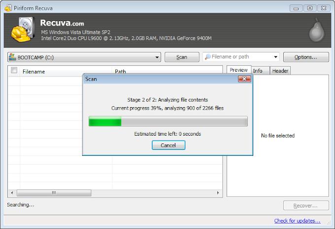 Recuva безплатна програма за възстановяване на изтрити файлове