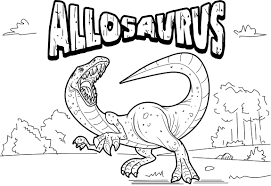 Allosaurus Dinosaur Coloring Page With Name