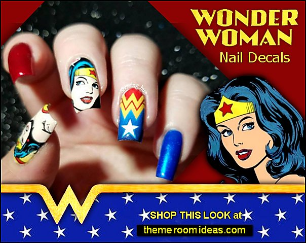 Wonder Woman Nail Decals superhero nails - Comics Superheroes Nails - superhero nail decals - superhero party nails
