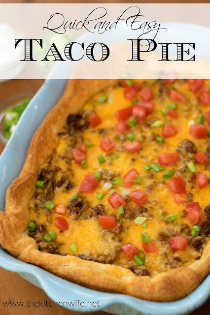 The finished Taco Pie with the title above.