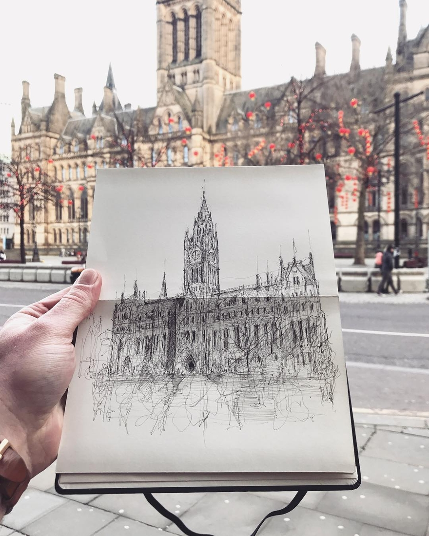 12-Manchester-Town-Hall-Luke-Adam-Hawker-Architectural-Illustration-of-Imposing-Buildings-www-designstack-co