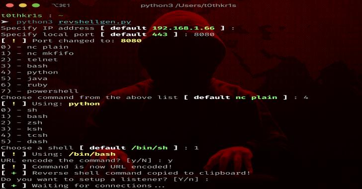 Revshellgen : Reverse Shell Generator Written In Python