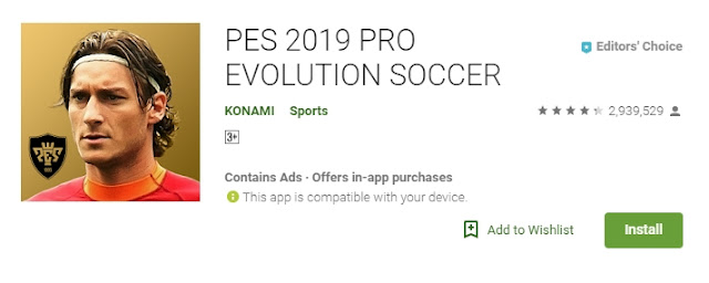 Download Game PES 2019 versi 3.3.0