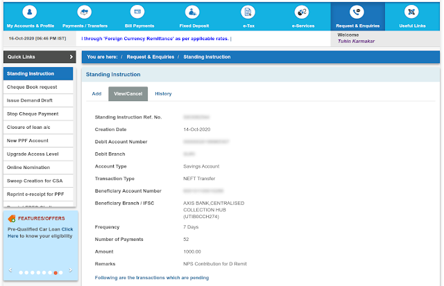Standing Instruction creation on SBI's Internet Banking website