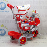 Sepeda Roda Tiga Family F845GT Unicorn Suspensi Musik Dobel Bintang Ban Jumbo - Red
