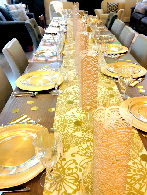 Mother's Day gold themed table setting