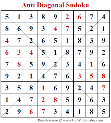 Answer of Anti Diagonal Sudoku Puzzle (Fun With Sudoku #292)