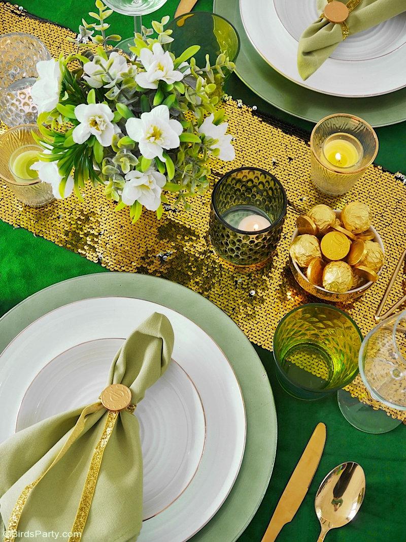 Décor de Table Vert et Doré Pour la Saint Patrick