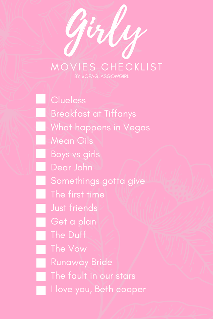 Pinterest graphic with pink background and white writing that has 15 girly movie titles written on it