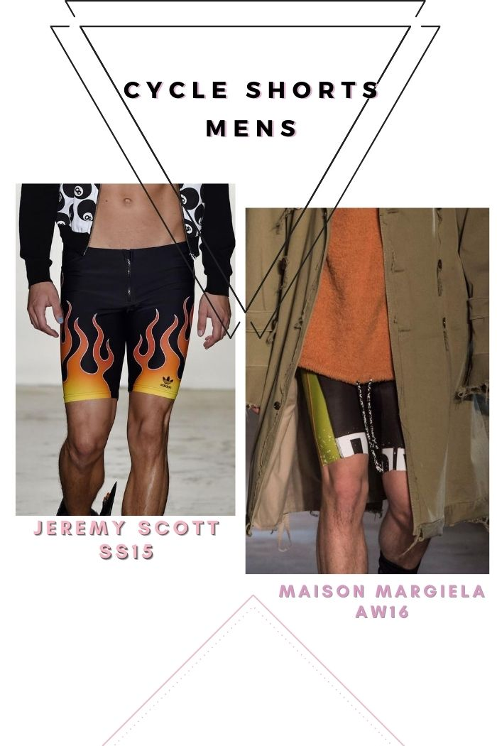 Jeremy Scott ss15 biker shorts with flames Maison Margiela AW16 Cycle shorts