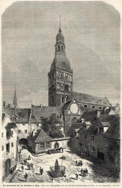 1870-е годы. Рига. Площадь Гердера. Домский собор.