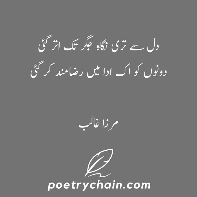 Dil Sa Tari Nigha Jigar Tak Utar Gai || Mirza Ghalib Poetry
