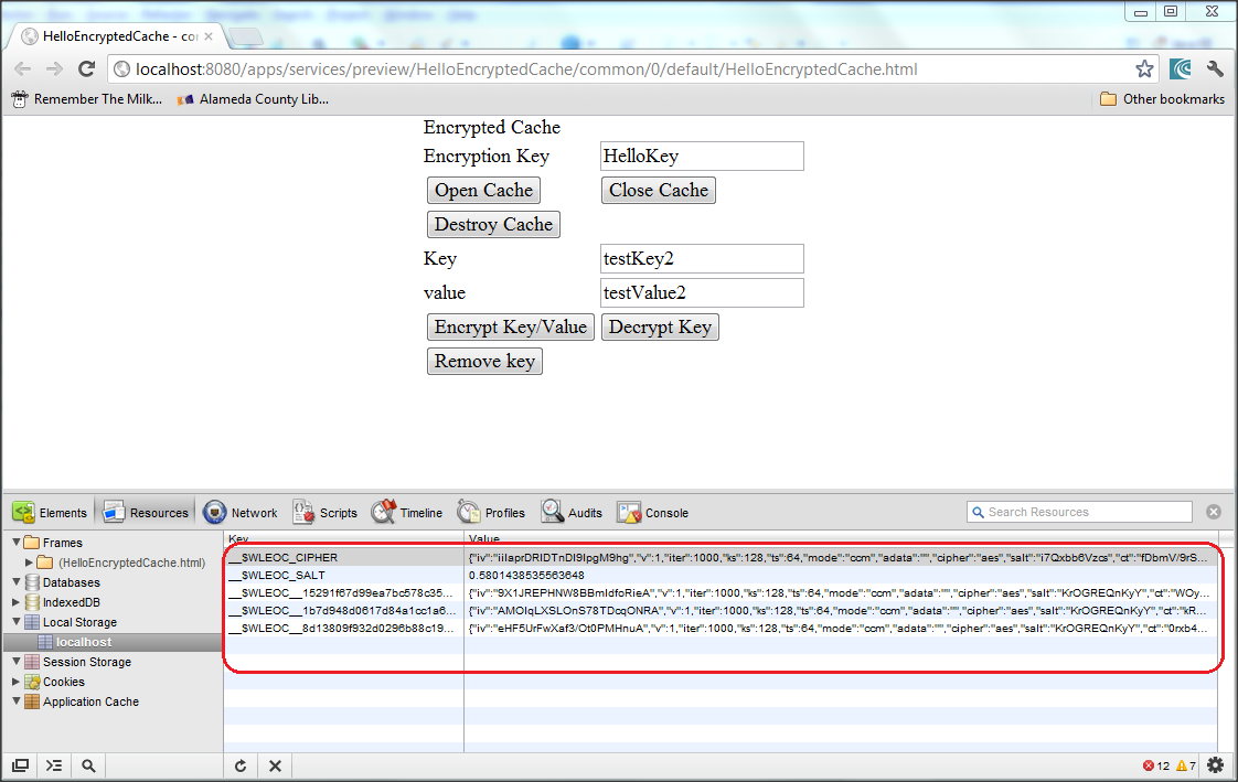 Use Worklight to encrypt the data stored in window localStorage