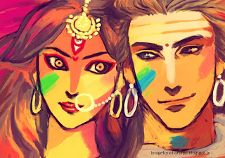 Happy Holi with Shiv and parvati