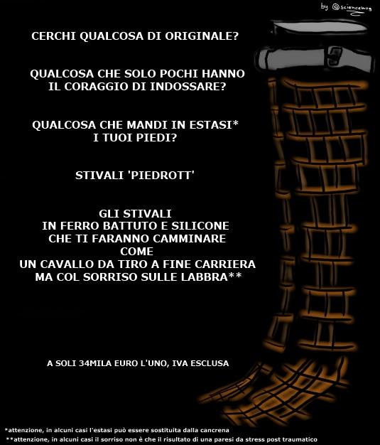 falsa pubblicità di un fittizio paio di stivali in ferro e silicone