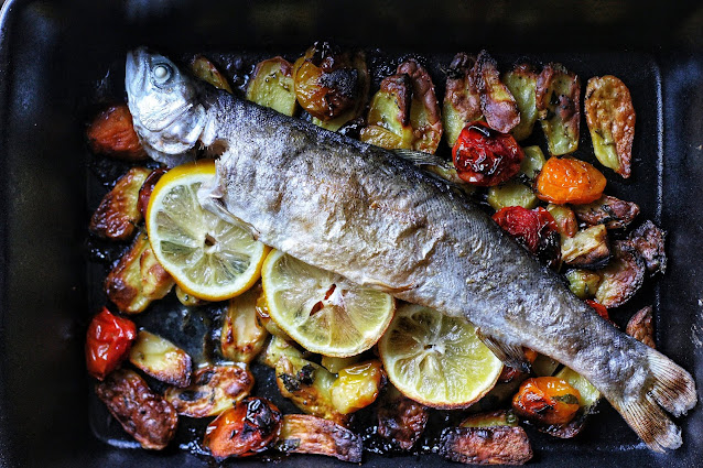 Roasted Rainbow Trout with Lemon, Potatoes and Cherry Tomatoes