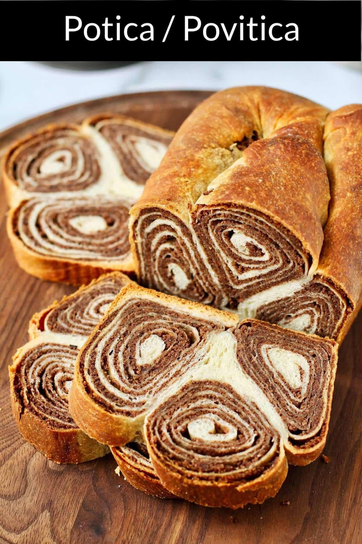 Potica slices on a bread board