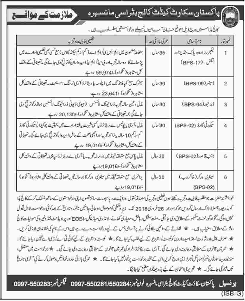 Jobs In Pakistan Scouts Cadet College Feb 2018