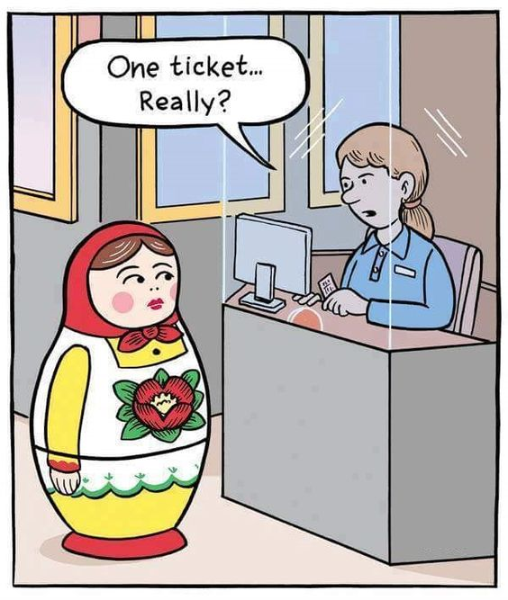 Funny Russian Doll Buying Ticket Cartoon Joke Picture