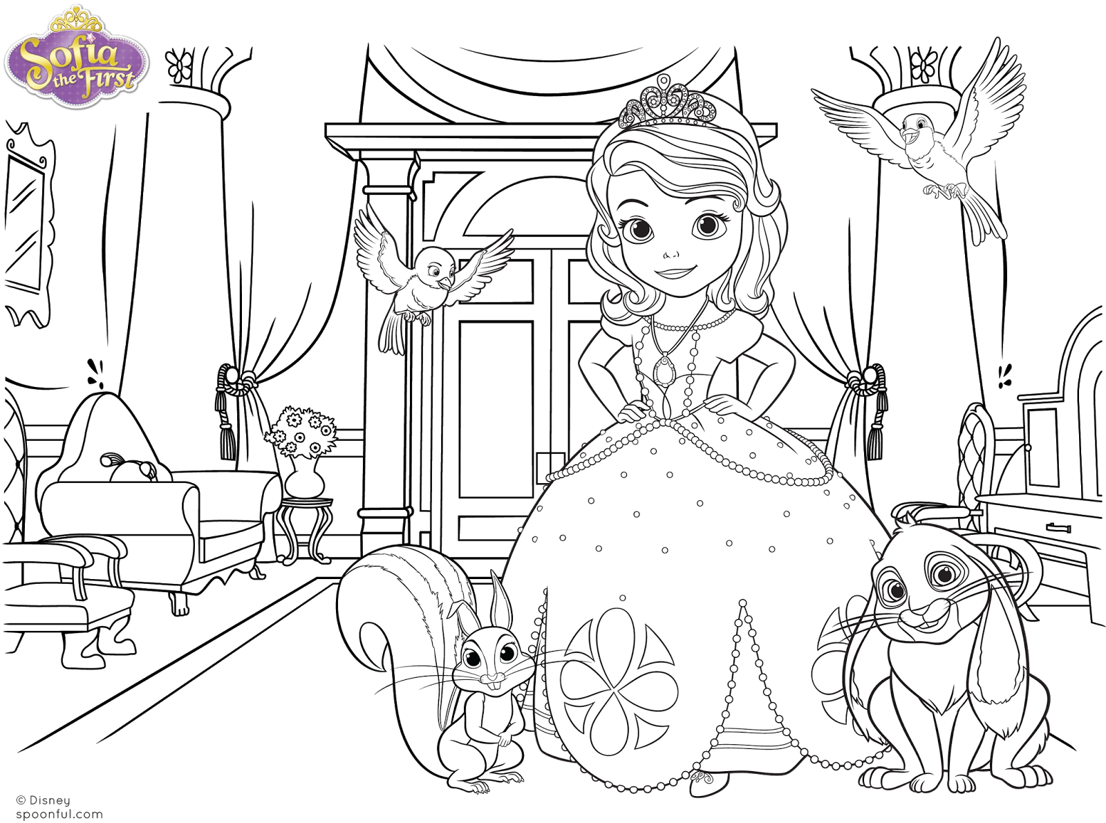 sofia the first printable coloring page - casinha de crian a kit festa princesa sofia para imprimir