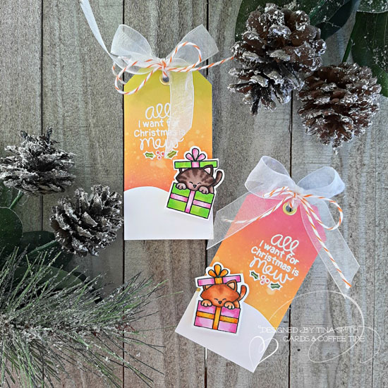 Deck the Halls with Inky Paws Week - Day 2 - Tina Smith | Tags using Purr-fect Present Stamp Set by Newton's Nook Designs #newtonsnook #handmade