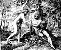 The original sin . Adam and Eve eat the forbidden fruit , tempted by Satan . Gen. 3: 6.