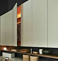 Contemporary wardrobe design with shelves underneath