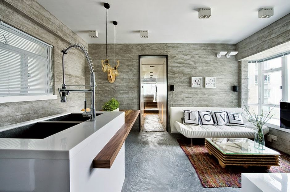 Interior de una casa moderna en gris for Interiores de salas modernas